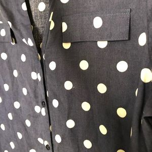 Investments Tops - Investments 100% Silk Polka Dot Button Down PM